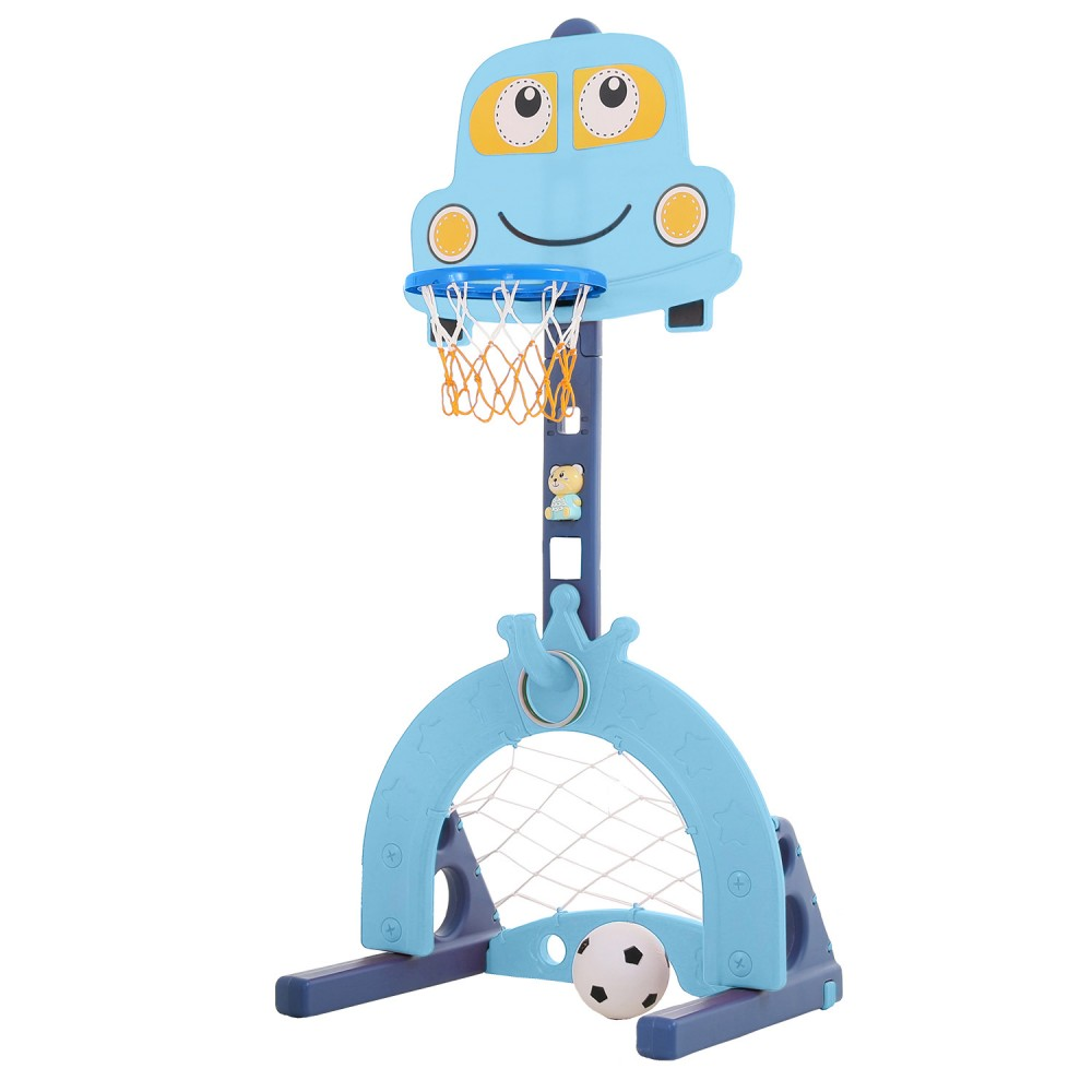 Plastic car Basketball frame With football and ring hoop L-QC03-BL