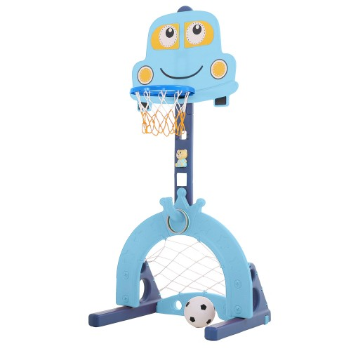 Πλαστική Μπασκέτα Αυτοκινητάκι με Δίχτυ για Μπάσκετ και δίχτυ για ποδόσφαιρο και μουσική Γαλάζιο L-QC03-BL