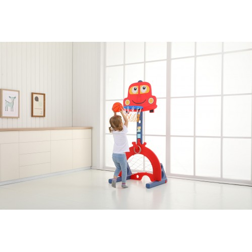 Plastic car Basketball frame With football and ring hoop L-QC03-RD