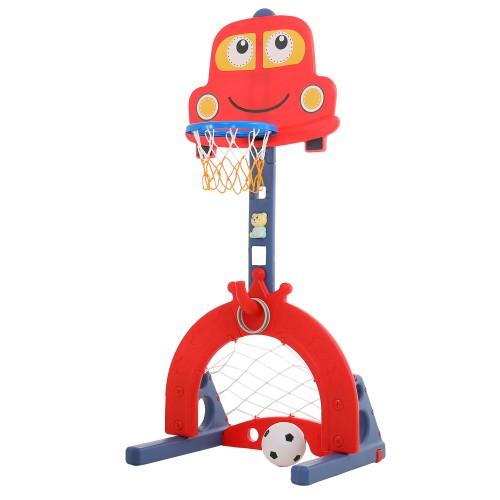 Πλαστική Μπασκέτα Αυτοκινητάκι με Δίχτυ για Μπάσκετ και δίχτυ για ποδόσφαιρο και μουσική Κόκκινο L-QC03-RD