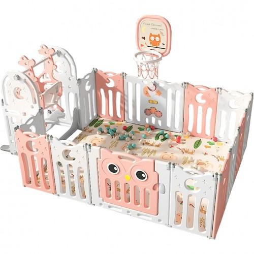 Πλαστικό Σετ Παιδότοπου Owl με Φράχτη 179 x 143 cm με κούνια, χαλάκι και Μπασκέτα Ροζ LY19-PN