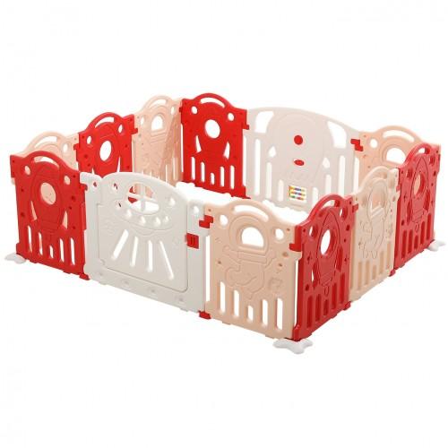 Πλαστικός Παιδότοπος Φράχτη Παιχνιδιού 12 Πάνελ Rocket Κόκκινο TK03-RD