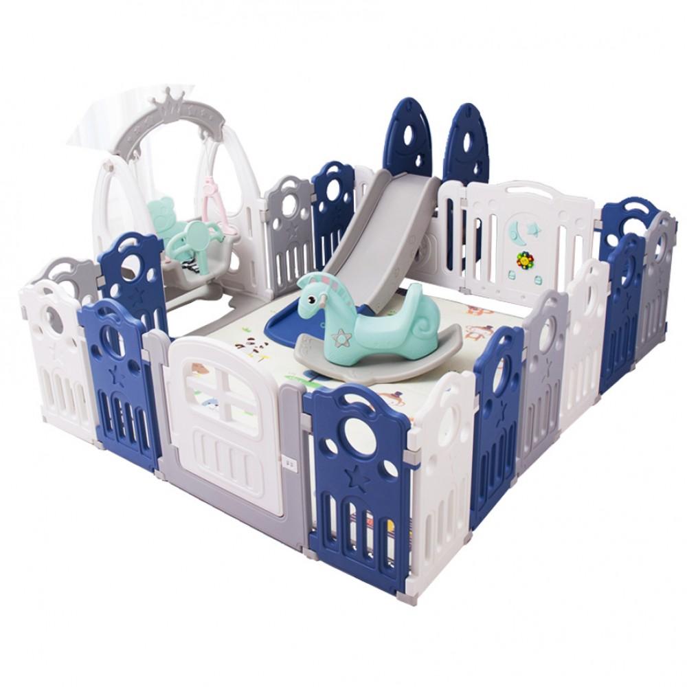 Πλαστικό Σετ Παιδότοπου Φράχτη με κούνια, τσουλήθρα, κουνιστό αλογάκι και χαλάκι 187 x 225 cm  Μπλε LY04-BLU