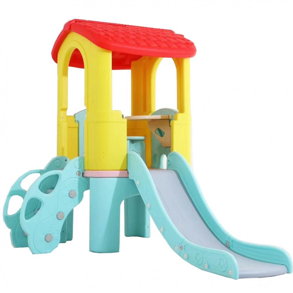 Πλαστικός Παιδότοπος με τσουλήθρα και Σκαλιά Βεραμάν Κίτρινο 0352-YL