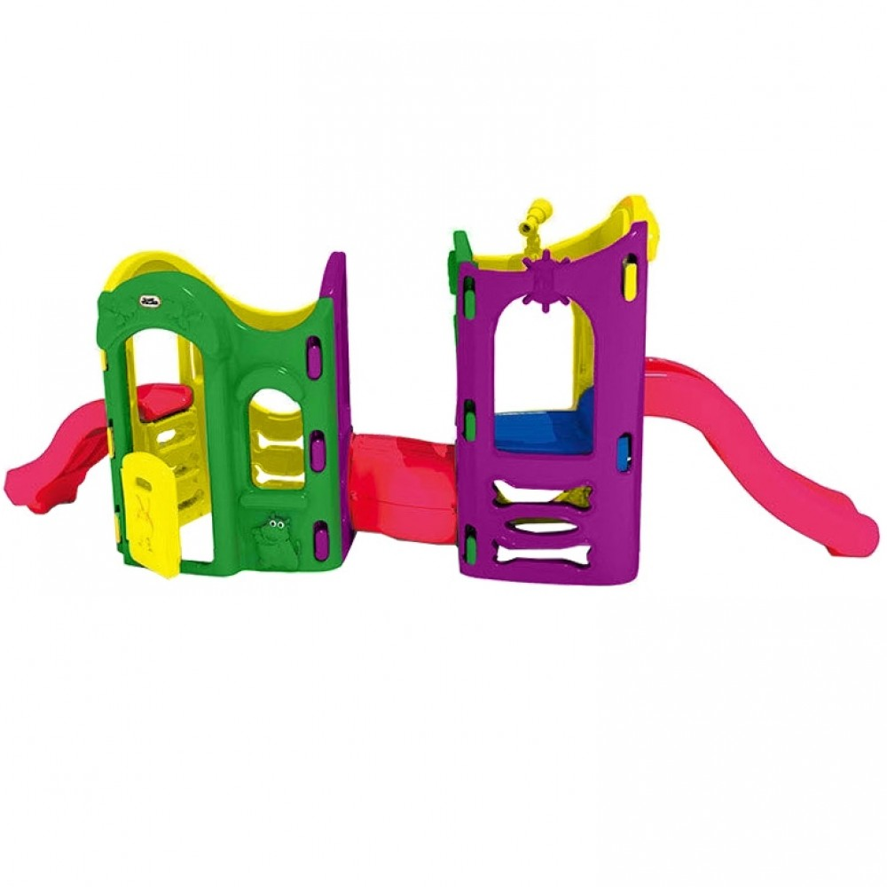 Πλαστικός Παιδότοπος με Διπλή Τσουλήθρα και Τούνελ Πολύχρωμο C003