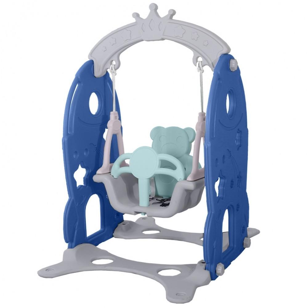 Πλαστική Κούνια Αρκούδι Μπλε-Γκρι Q12-BLU