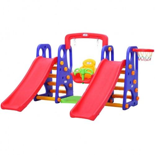Πλαστική Διπλή Τσουλήθρα Squirrel 5 σε 1 με Κούνια , Δίχτυ για μπάσκετ Μπλε 147-2-BLU