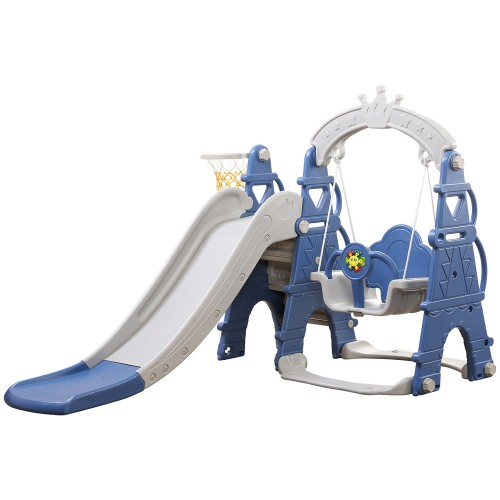 ΕΚΘΕΣΙΑΚΟ ΚΟΜΜΑΤΙ - Πλαστική Castle Τσουλήθρα με Κούνια και Δίχτυ για Μπάσκετ Μπλε AFE08-BLU-EXB