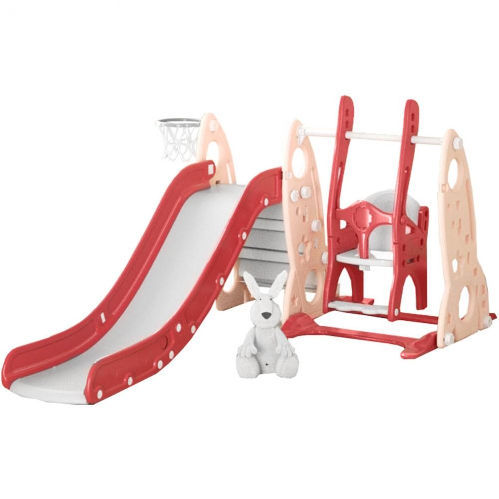 Πλαστική Τσουλήθρα με Κούνια Rounded Ροζ RS04-PN