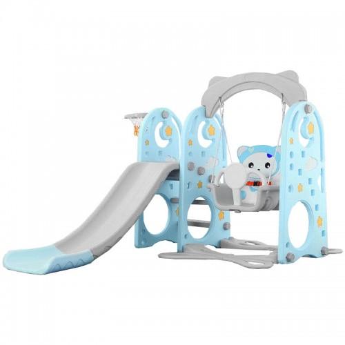 Πλαστική Baby Bear Τσουλήθρα με Κούνια και Δίχτυ για Μπάσκετ Μπλε XK01-BLU