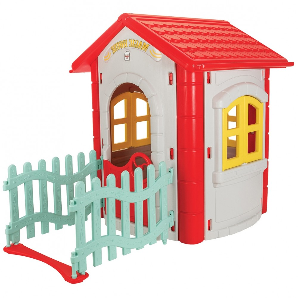 Παιδικό Σπιτάκι Magic House με Φράχτη Κόκκινο 6194