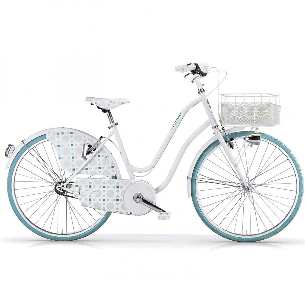 ΕΚΘΕΣΙΑΚΟ ΚΟΜΜΑΤΙ - Ποδήλατο Πόλης - MBM Mima 26 ίντσες 017 1V Λευκό - Γαλάζιο 908-WH-EXB