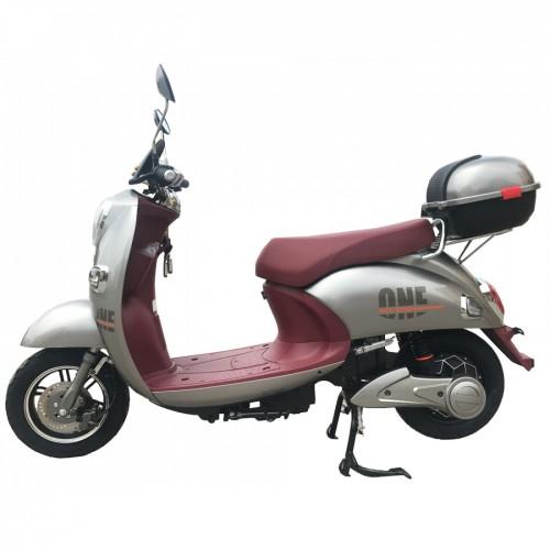 Μότο-Ποδήλατο - Ηλεκτρικό E-bike Ασημί με Μπορντό Σέλα BN-TURTLE