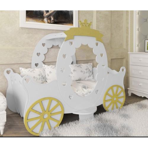Παιδικό Κρεβάτι 84 x 170 x 125 cm | Montessori King Λευκό - Χρυσό PR-2224-GL