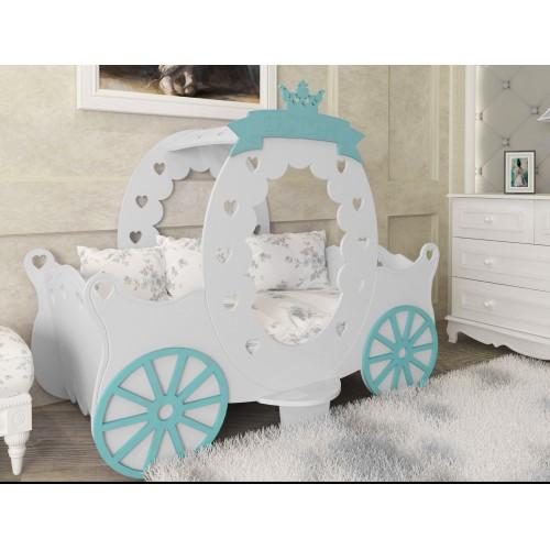 Παιδικό Κρεβάτι 84 x 170 x 125 cm | Montessori King Λευκό - Βεραμάν PR-2224-VRM
