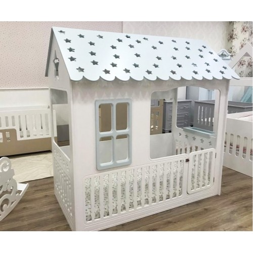 Παιδικό Κρεβάτι Montessori Star Λευκό-Βεραμάν ST-2222-VR