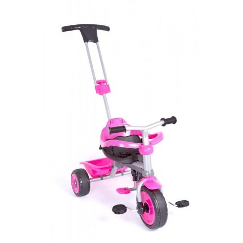 Παιδικό Τρίκυκλο Ποδήλατο Biketoys - Με Μπάρα Καθοδήγησης  Και Τέντα Ροζ-Μαύρο 838-PN