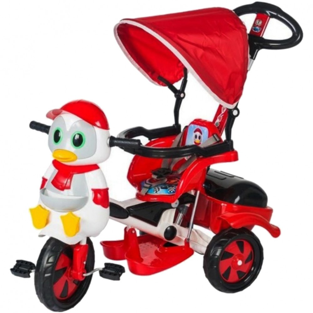 EXHIBITION MODEL - Kids Tricycle Ducj with Push Handle And Tent Red 51888-RD-EXB