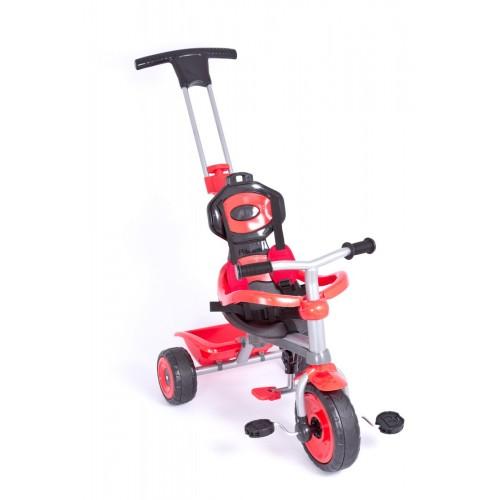 Παιδικό Τρίκυκλο Ποδήλατο Biketoys - Με Μπάρα Καθοδήγησης  Και Τέντα Κόκκινο-Μαύρο 838-RD