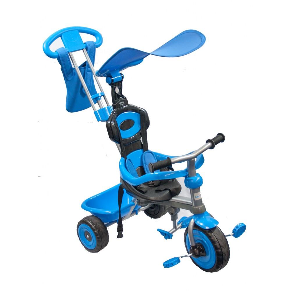 Παιδικό Τρίκυκλο Ποδήλατο Biketoys - Με Μπάρα Καθοδήγησης Και Τέντα Μπλε 838-BL